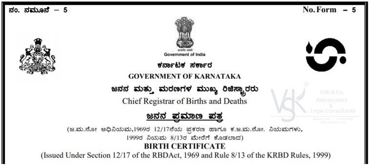 Birth Certificate Bangalore